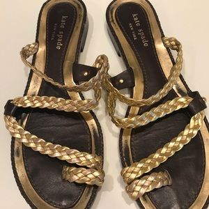Kate Spade Gold Leather Sandals Size 8 M
